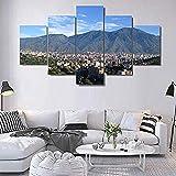 WHYWY Impresiones sobre Lienzo,Modern Home Decor Poster HD Pictures 5 Piezas Modular Avila Caracasberg Cuadro De Pintura Decorativa (Sin Marco) Tamaño C