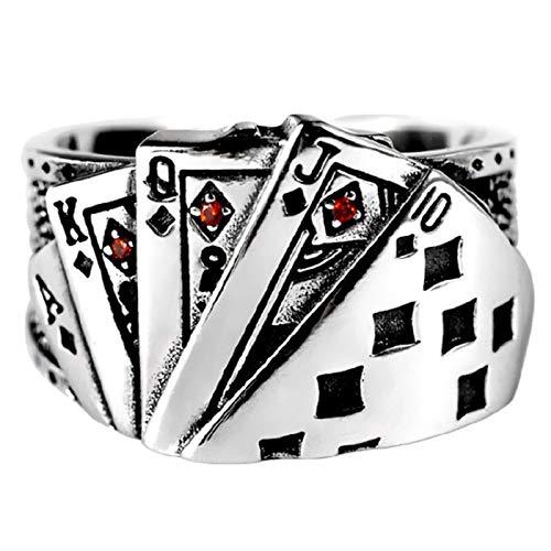 Beautymei Anillos de joyería para hombre, estilo punk rock, negro as de picas, anillo grabado, anillo de apertura ajustable para mujeres y hombres
