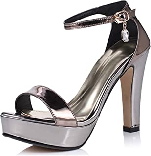BIAN Heeled Sandals for Women Chunky Heel Plaform Single Band Ankle Strap with Faux Crystal Pendant Patent Round Toe