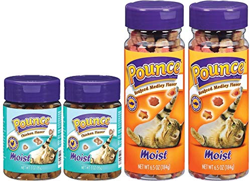 Pounce 2 Flavor, 4 Jar Bundle of Moist Cat Treats: Seafood Medley and Chicken