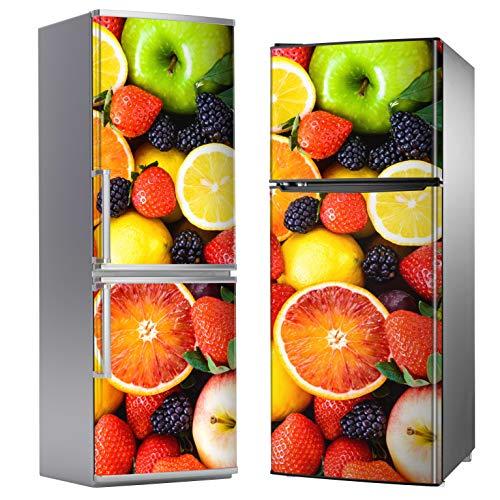 MEGADECOR Vinilo Adhesivo Decorativo para Nevera con Diseño de Frutas, Varias Medidas (185cm x 70cm)
