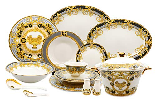 Royalty Porcelain 43-pc Dinner Set, Greek Vase, Grey Bone China Porcelain