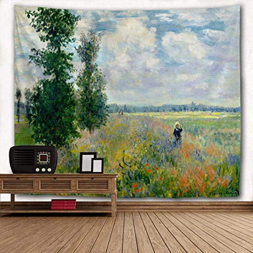 WIHVE Monet's Poppy Tree Tapestries, Flower Women Field Argenteuil Tapestry Wall Hanging Art Home Decor for Bedroom Living Room Apartment Dorm 40 x 60 Inches