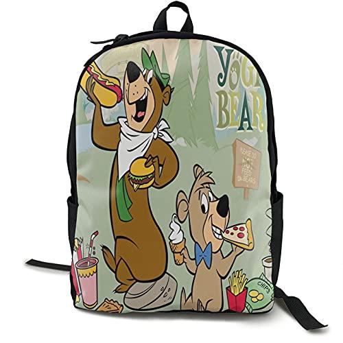 Yogi Bear Picnic Backpack Laptop Backpack College School Backpack Daypack Book Bag Computer Bag Laptop Travel Bag for Men Women Boys Girls