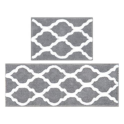Pauwer Set de 2 Tapis de Bain Antidérapant Microfibre Absorbant Carpette Lavable en Machine Tapis Bain,Gris,(45X65cm+45X120cm)