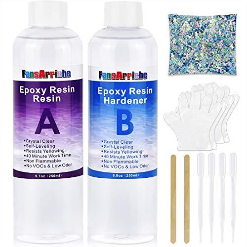 Kit de résine époxy 500 ml - Transparent Pour moulage et revêtement, dessus de table, fabrication de bijoux et décoration artisanale