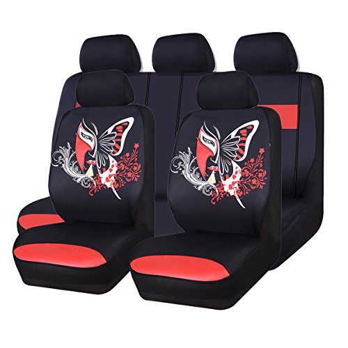 CAR PASS 11PCS Insparation Butterfly Universal Fit Car Seat Covers Set Package-Universal fit for Vehicles,Cars,suvs,vansAirbag Compatiable(Black with Red)