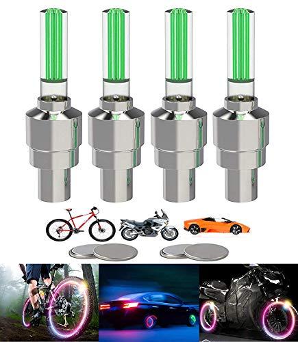 Yinch 4 Stück LED Ventilkappen Fahrrad Reifen Beleuchtung Speichenlicht Fahrrad Ventilschaftkappe Licht Autozubehör für Fahrrad, Auto, Motorrad oder LKW mit 10 Zusätzlichen Batterien(Grün)