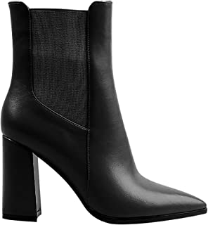 Women's Fashion High Heel Ankle Boots - Pointed Toe Chelsea Booties