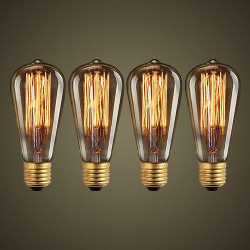 Edison Vintage Glühbirne, Retro Edison Filament Lampe Warmweiß E27 ST64 40W Glühbirne Antike Glühlampe Licht Ideal für Nostalgie und Retro Beleuchtung - 4 Stück
