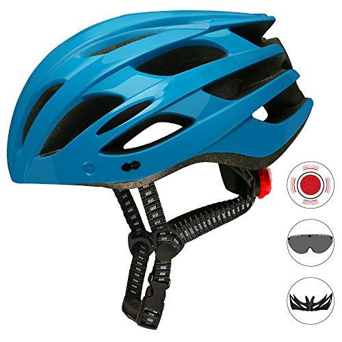 Ultralight Fietshelm, ademend Fietshelm met afneembaar vizier Goggles Fiets achterlicht Safe Intergrally voor Man Vrouw,Blue