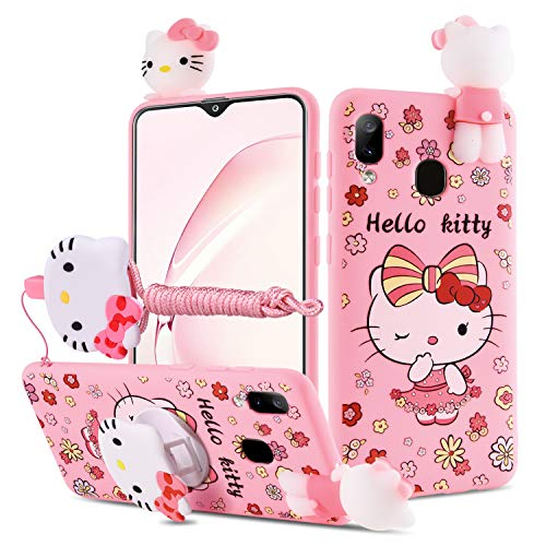 HIKERCLUB Galaxy A10S Case Hello Kitty 3D Cartoon Case with Pop Out Phone Stand Grip Holder and Detachable Long Lanyard Neck Strap Band Soft Lovely Case for Children Kids Girls (Hello Kitty, A10S)