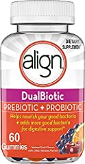 DUAL BENEFIT OF PREBIOTICS+PROBIOTICS.Align Gummies support digestive health in 2 ways: They contain a prebiotic fiber, Inulin, to help nourish good bacteria in digestive system and the probiotic, Bacillus Coagulans, which adds more good bacteria in ...