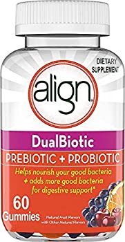 Align DualBiotic Prebiotic + Probiotic for Men And Women Help nourish and add good bacteria for digestive support Natural Fruit Flavors 60 Gummies
