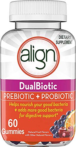 Align DualBiotic Prebiotic + Probiotic Supplement for Adult Men and Women, 60 Count, Digestive Support Gummies in Natural Fruit Flavors
