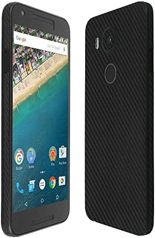 Skinomi Black Carbon Fiber Full Body Skin Compatible with LG Nexus 5X 2015 Full Coverage TechSkin product image