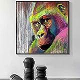 WLHRJ Impresión de Imagen 40x40 cm Graffiti sin Marco Orangután Mono Chimpancé Street Art Print Pintura Gorila Animal Imagen de Pared Sala de Estar Decoración del hogar