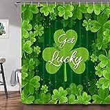 JAWO St. Patrick's Day Duschvorhang, grünes Kleeblatt-Kleeblatt mit Buchstaben Get Lucky Print Duschvorhänge für Badezimmer, Stoffbadevorhang mit Haken, Set, 170 x 177 cm
