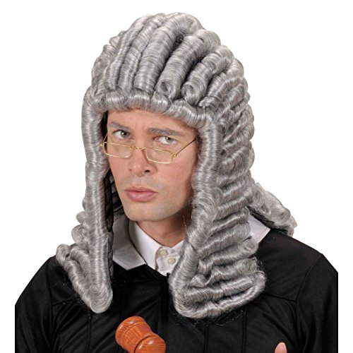NET TOYS Richter Perücke Anwalt Anwaltsperücke Kunsthaar Perücke Richterperücke Gerichtsperücke Gericht Mittelalter Lockenperücke grau