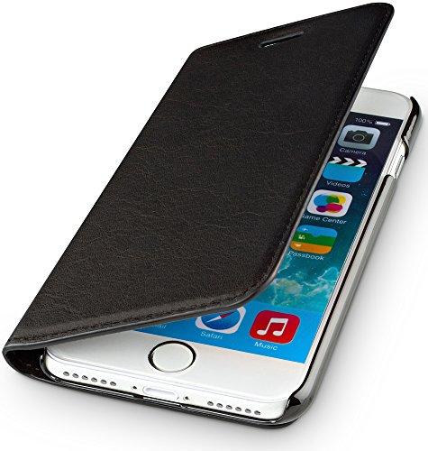 WIIUKA Echt Ledertasche - TRAVEL Nature - für Apple iPhone 8 Plus & iPhone 7 Plus - DEUTSCHES Leder - Schwarz, mit Kartenfach, extra Dünn, Tasche, Leder Hülle kompatibel mit iPhone 8 Plus / 7 Plus