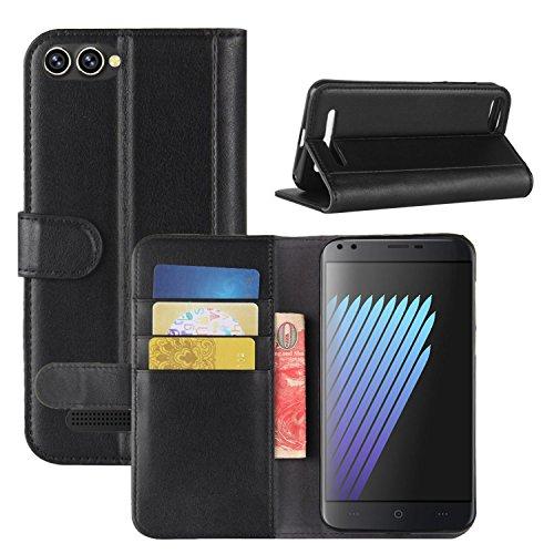 HualuBro Doogee X30 Hülle, Echt Leder Leather Wallet Handyhülle Tasche Schutzhülle Hülle Flip Cover mit Karten Slot für Doogee X30 5.5 Inch Smartphone (Schwarz)