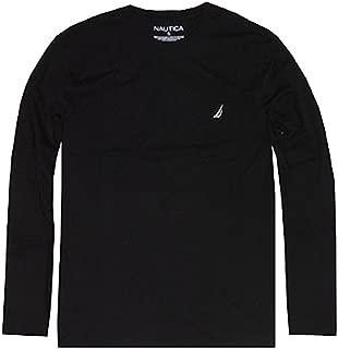 Nautica Men Long Sleeve Solid Crewneck Logo T-Shirt
