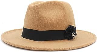 Fedora Cap Fashion Men Women Fedora Hat Wide Brim Jazz Hat Pop Panama Hat Outdoor Travel Church Hat Fascinator Size 56-58CM Felt hat (Color : Khaki, Size : 56-58)