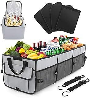 AojSup XXXL Premium Kofferraum Organizer mit Deckel, Faltbare Auto Kofferraum Organizer, Auto kofferraumtasche, Autotasche Kofferraum, Kühltasche, Befestigungsstreifen, 90L (Grau)