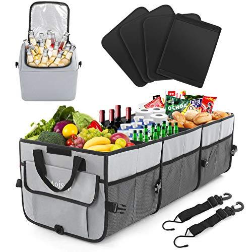AojSup Premium Kofferraumtasche mit Deckel Kofferraum-Organizer Auto kofferraumtasche, Faltbare Autotasche, Ttragbarem multifunktionellem Lagerplatz, Antirutsch-Klett (Grau)