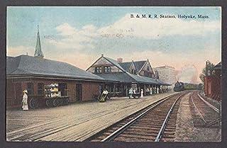 Boston & Maine Railroad Station Holyoke MA postcard 1917