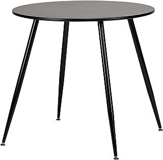 H.J WeDoo Ronde Table de Salle à Manger Scandinave Diamètre 80cm Moderne Style Nordique Pieds Métal Noir, Plateau en MDF Noir