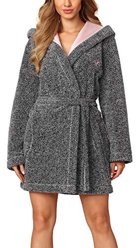L&L Peignoir de Bain Veste d'Intérieur à Capuche Femme BLN-8121 (Mélange/Rose (BLN-8121), S)