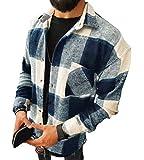 Camisas A Cuadros para Hombre Blusa De Manga Larga Cuadros Clásicos Blusas Camisa De Leñador A Blanco Negro L