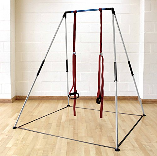 Porta-Gym: Fully portable multipurpose bodyweight resistance exercise frame for indoor and outdoor use. Unique proprietary design works on even and uneven ground. High stability and easy to set up in minutes.