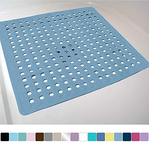 GORILLA GRIP Original Patented Shower Stall Mat, Bath Tub Mats, 21x21, Machine Washable, Antibacterial, BPA, Latex, Phthalate Free, Square Bathroom Mats With Drain Holes, Suction Cups, Sky Blue Opaque