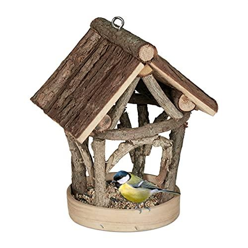 Relaxdays Mangiatoia per uccelli in legno, da appendere, per giardino, mangiatoia per uccelli, 22,5 x 17 x 13,5 cm, colore naturale