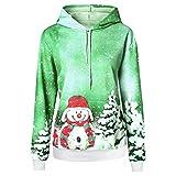 ROVNKD Christmas Outfit - Camiseta Larga para Mujer, diseño de muñeco de Nieve con Capucha, Manga Larga Verde M