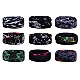 Scott Edward 9pcs Headbands Headwear elástico Magia Bufanda Bandana Bandas de Deportes Yoga sin Costuras Camuflaje, Color de la Flor, Color Multi-Solid, para los Hombres y Las Mujeres (Black Skull)