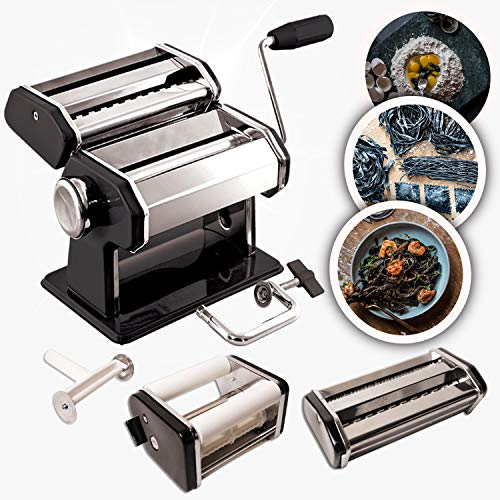 Pasta Maker Machine with 150mm Cutter, Ravioli Attachment - Stainless Steel Black Finish - Two Pasta Accessories for Fresh Homemade Spaghetti, Fettuccine and Ravioli - Digital Instruction Manual
