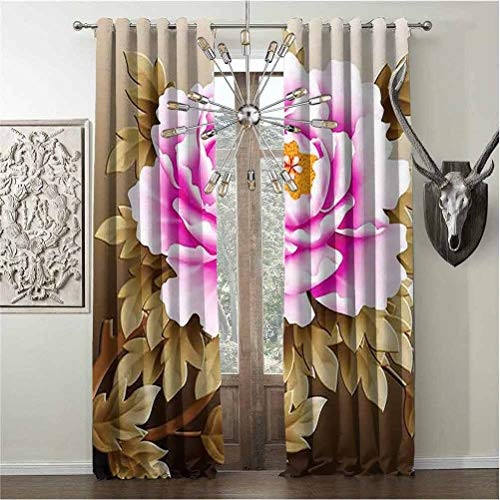 Tapesly High Shading Rate Window Curtains Pink and White Fubuki Dahlia Over red and White Santa Claus Dahlia Blackout Curtains Grommet W108 x L108 Inch
