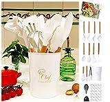 Moogambi 26 Utensilios Cocina de Silicona BLANCOS y Mango Madera Profesionales Resistentes al Calor antiadherentes sin BPA no arañan 1 Guante para Horno 1Reposa Cucharas 12 Ganchos