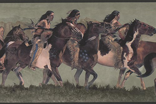 York Wallcoverings Indians Riding on Horses Green Wallpaper Border Retro Design, Roll 15' x 7''