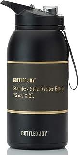 BOTTLED JOY Stainless Steel Water Bottle with Straw Lid, BPA Free 32oz/ Half Gallon/Gallon Large Water Bottle Dual Lid Vac...