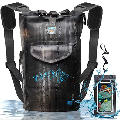 Waterproof Floating Backpack by LuckRoute – Dry Bag for Kayaking – Sack for Beach Boating Fishing or Camping Black 20L