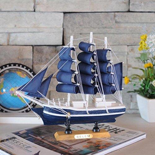Harilla Velero de Madera Hecho a Mano Vintage Modelo Barco de Vela de Madera Decoración de Oficina en Casa - C, Individual