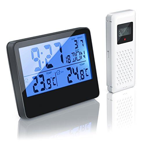 CSL - Funk Wetterstation mit Außensensor - Funkuhr, sekundengenaue Uhrzeit durch DCF-Signal - LCD-Display Hintergrundbeleuchtung