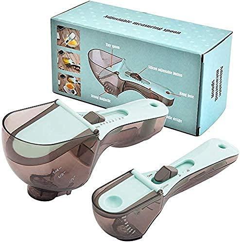 Cuchara de medición ajustable a gran escala, herramienta de condimento, utensilio de cocina práctico para sólido/polvo/líquido (2 unidades)