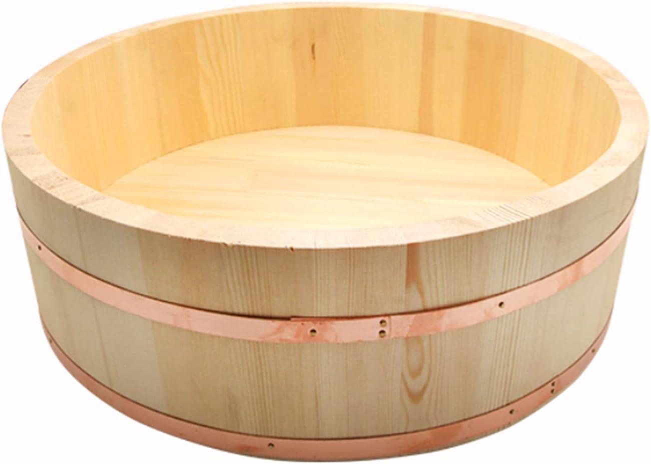 KELUNIS Wood Sushi Oke Max Directly managed store 83% OFF Tub Hangiri Copper Rice Mixing Bowl with