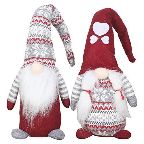 Cotill 2pcs Handmade Christmas Gnome, Large Scandinavian Tomte Christmas Santa Figurines Scandinavian Gnome Plush for Holiday Christmas Decorations - 17.5 Inches
