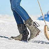Rendeyuan Invierno al Aire Libre Botas cálidas con Cordones en la Espalda Protección de Invierno contra la Nieve Botas cálidas Cultura Gruesa Botas cálidas con Cordones - Gris - 40